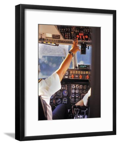 Pilots in Cockpit Doing a Pre-Flight Check-Greg Dale-Framed Art Print