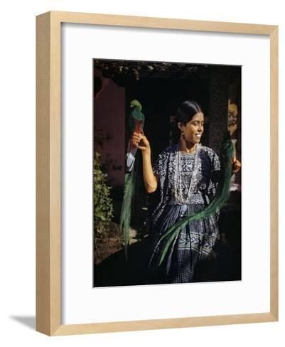 Woman Holds Mounted Quetzals, National Bird of Guatemala-Luis Marden-Framed Art Print