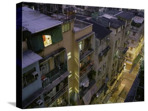 Child Studies on His Computer in His Room in Central Hong Kong-xPacifica-Stretched Canvas Print