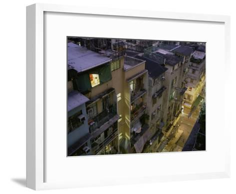 Child Studies on His Computer in His Room in Central Hong Kong-xPacifica-Framed Art Print