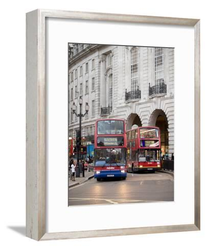 London Buses Passing the Alliance Life Building in Piccadilly Circus-xPacifica-Framed Art Print
