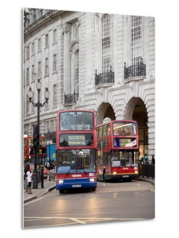 London Buses Passing the Alliance Life Building in Piccadilly Circus-xPacifica-Metal Print