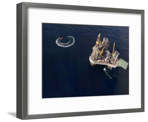 Oil Rig and Safety Boat in the North Atlantic Ocean-xPacifica-Framed Art Print