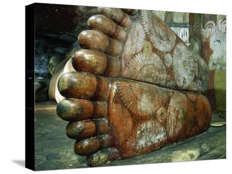Feet of a 1st Century Reclining Stone Buddha in a Cave Temple-Jason Edwards-Stretched Canvas Print