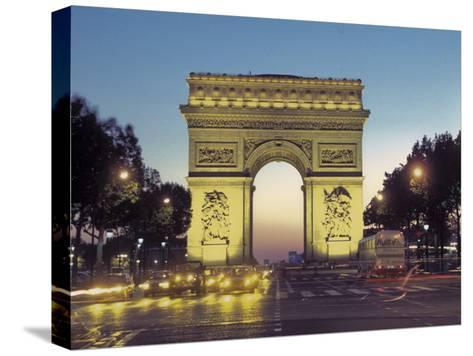 Arc De Triomphe and the Champs-Elysees Boulevard at Dusk-Richard Nowitz-Stretched Canvas Print