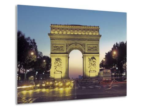 Arc De Triomphe and the Champs-Elysees Boulevard at Dusk-Richard Nowitz-Metal Print