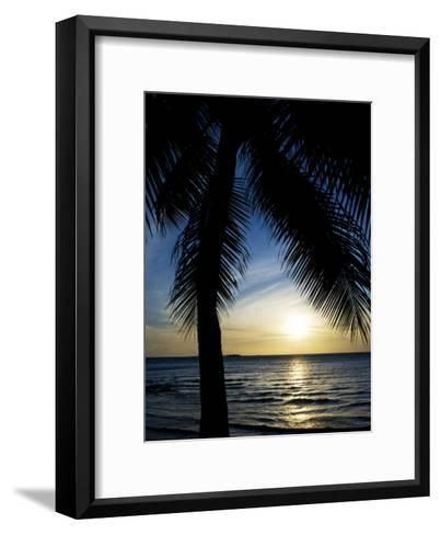Silhouetted Palm Tree and Gentle Surf at Twilight-Mattias Klum-Framed Art Print
