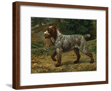 Wire-Haired Pointing Griffon Holds a Dead Bird in its Mouth-Walter Weber-Framed Art Print