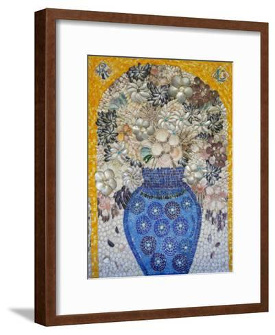 Mosaic of Flower Vase Made from Seashells and Mosaic Stones-Keenpress-Framed Art Print