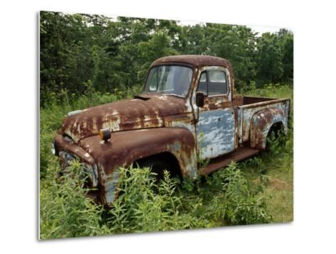 Abandoned Truck Rests in a Patch of Overgrown Grasses and Bushes-Paul Damien-Metal Print