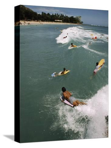 Swimmers on Boogie Boards in the Gentle Surf of Waikiki-Paul Chesley-Stretched Canvas Print