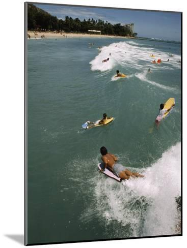 Swimmers on Boogie Boards in the Gentle Surf of Waikiki-Paul Chesley-Mounted Photographic Print