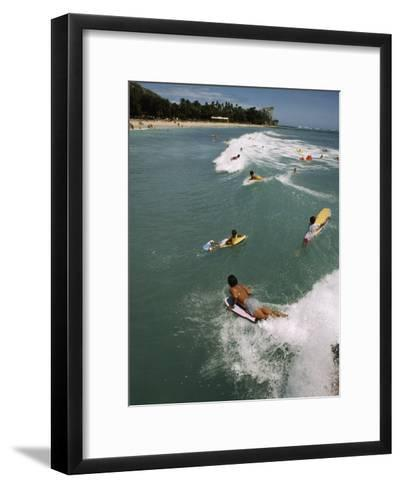 Swimmers on Boogie Boards in the Gentle Surf of Waikiki-Paul Chesley-Framed Art Print