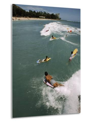 Swimmers on Boogie Boards in the Gentle Surf of Waikiki-Paul Chesley-Metal Print