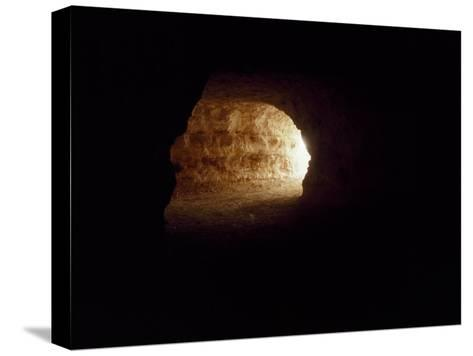 Looking Up an Opal Mine Tunnel Towards the Surface and Daylight-Jason Edwards-Stretched Canvas Print