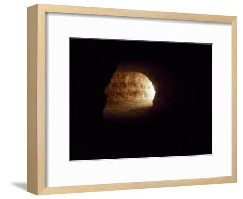 Looking Up an Opal Mine Tunnel Towards the Surface and Daylight-Jason Edwards-Framed Art Print