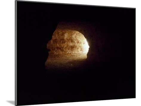 Looking Up an Opal Mine Tunnel Towards the Surface and Daylight-Jason Edwards-Mounted Photographic Print