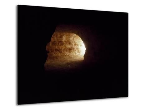 Looking Up an Opal Mine Tunnel Towards the Surface and Daylight-Jason Edwards-Metal Print