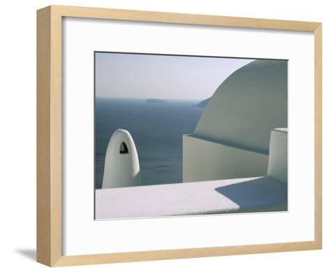 Classic Greek View of Whitewashed Buildings Overlooking the Sea--Framed Art Print
