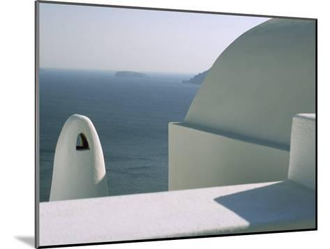 Classic Greek View of Whitewashed Buildings Overlooking the Sea--Mounted Photographic Print