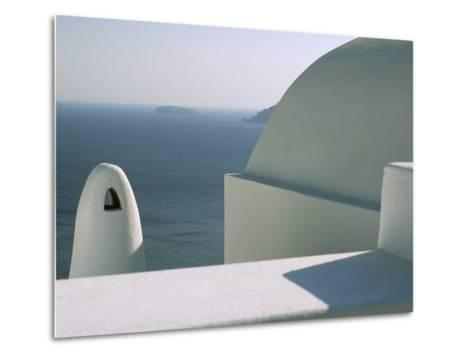 Classic Greek View of Whitewashed Buildings Overlooking the Sea--Metal Print