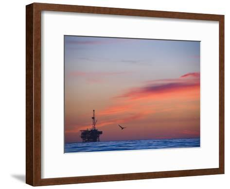 Offshore Oil and Gas Rig in the Pacific Ocean at Sunset-James Forte-Framed Art Print