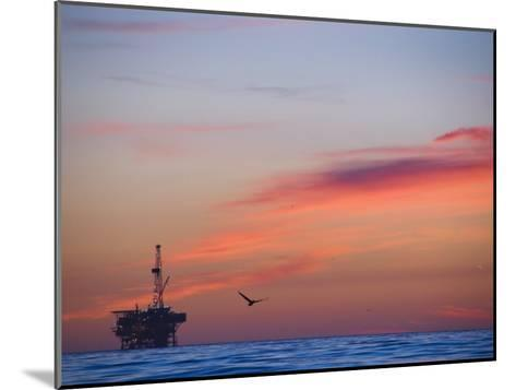 Offshore Oil and Gas Rig in the Pacific Ocean at Sunset-James Forte-Mounted Photographic Print
