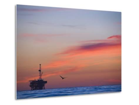 Offshore Oil and Gas Rig in the Pacific Ocean at Sunset-James Forte-Metal Print