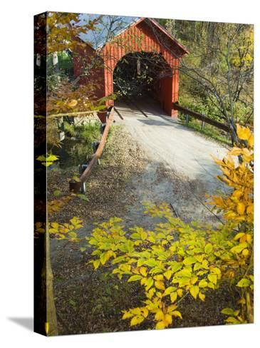 Slaughter House Bridge and Fall Colors-James Forte-Stretched Canvas Print