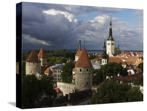 Medieval Town Walls and Spire of St. Olavs Church, Tallinn, Estonia, Baltic States, Europe-Keenpress-Stretched Canvas Print