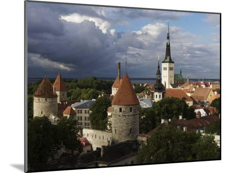 Medieval Town Walls and Spire of St. Olavs Church, Tallinn, Estonia, Baltic States, Europe-Keenpress-Mounted Photographic Print