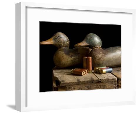 Antique Duck Decoys and Shotgun Shells Sit on an Old Wooden Crate-Joel Sartore-Framed Art Print