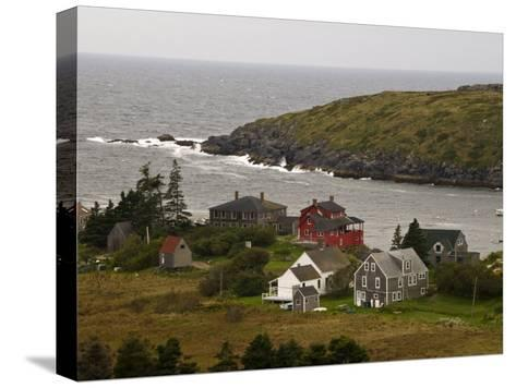 View of Homes and Rugged Coastline of Monhegan Island-Todd Gipstein-Stretched Canvas Print