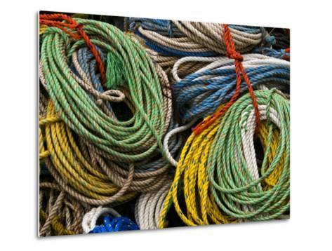 Close-up of Bundles of Bright Colored Ropes-Todd Gipstein-Metal Print