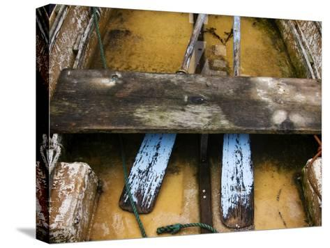 Close-up of Oars in a Flooded Rowboat-Todd Gipstein-Stretched Canvas Print