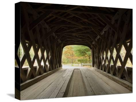 Interior of Bartonsville Covered Bridge, Fall Foliage Tour, Vermont-James Forte-Stretched Canvas Print