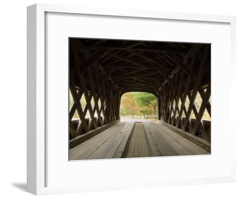 Interior of Bartonsville Covered Bridge, Fall Foliage Tour, Vermont-James Forte-Framed Art Print