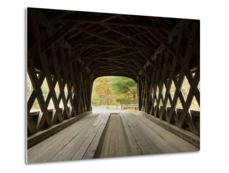 Interior of Bartonsville Covered Bridge, Fall Foliage Tour, Vermont-James Forte-Metal Print