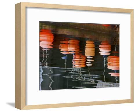 Net and Trap Markers Hanging Off a Fishing Boat-Michael Melford-Framed Art Print