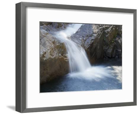 Small Waterfall Cascading over Rough Rocks-Tim Laman-Framed Art Print