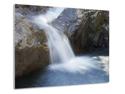 Small Waterfall Cascading over Rough Rocks-Tim Laman-Metal Print