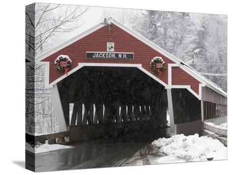 Traditional Covered Bridge on a Snowy Day in Jackson, Nh-Tim Laman-Stretched Canvas Print