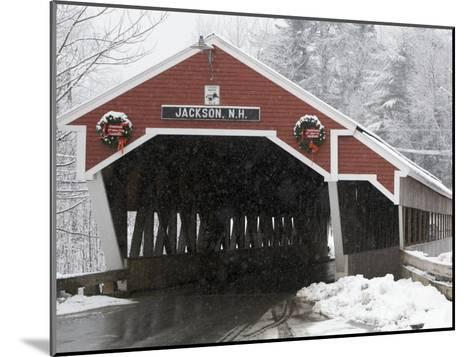 Traditional Covered Bridge on a Snowy Day in Jackson, Nh-Tim Laman-Mounted Photographic Print