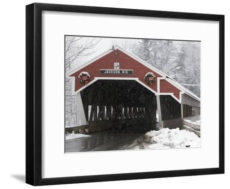 Traditional Covered Bridge on a Snowy Day in Jackson, Nh-Tim Laman-Framed Art Print