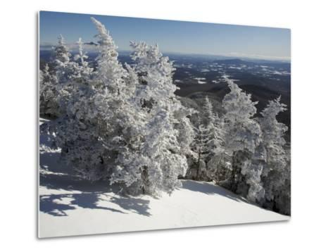 Summit View from the Top of Madonna Mountain, Vermont, with Rime Covered Trees-Tim Laman-Metal Print