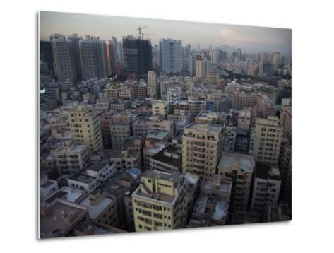 Modern Architecture Surrounds Older Buildings in Shenzhen-Randy Olson-Metal Print