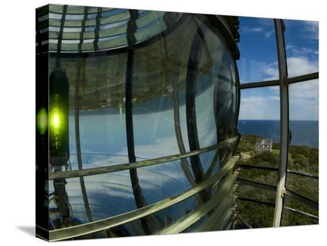 Looking Out from Atop Southeast Light with Beacon Illuminated-Todd Gipstein-Stretched Canvas Print