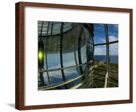 Looking Out from Atop Southeast Light with Beacon Illuminated-Todd Gipstein-Framed Art Print