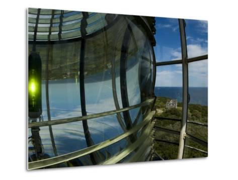 Looking Out from Atop Southeast Light with Beacon Illuminated-Todd Gipstein-Metal Print