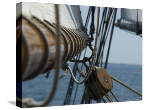 Close Up View of a Mast and Block of a Tall Ship-Todd Gipstein-Stretched Canvas Print